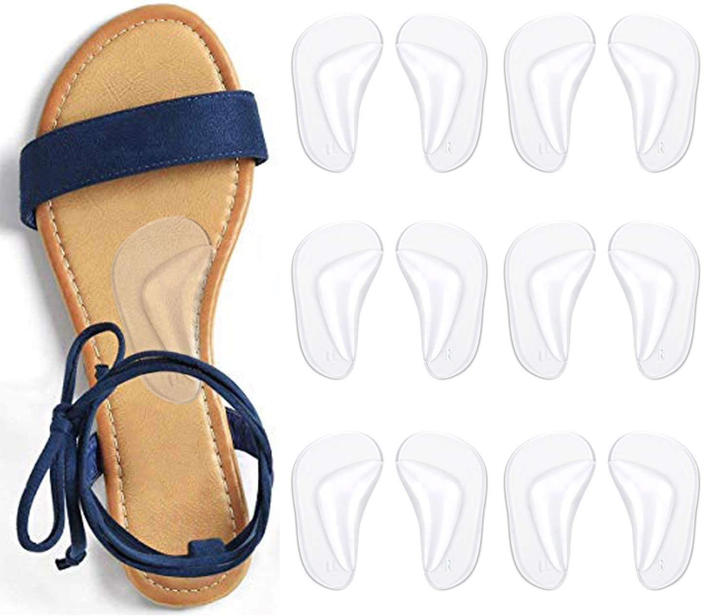 Gel Arch Support Cushions for Men & Women, Shoe Insoles for Flat Feet, Reusable Arch Inserts for Plantar Fasciitis, Adhesive Arch Pad for Relieve Pressure and Feet Pain: Health & Personal Care