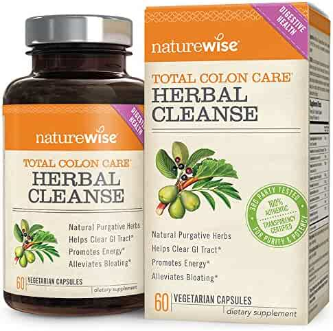 NatureWise Herbal Detox Cleanse Laxative Supplements | Natural Colon Cleanser Herb & Fiber Blend for Constipation Relief, Toxin Rid, Gut Health, Weight Loss Support [1 Month Supply - 60 Capsules]