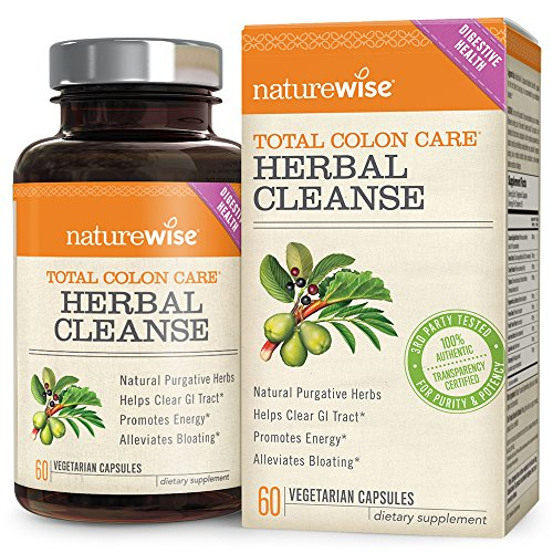 NatureWise Herbal Detox Cleanse Laxative Supplements  Natural Colon Cleanser Herb & Fiber Blend for Constipation Relief, Toxin Rid, Gut Health and Weight Loss Support, 60 time release veggie capsules