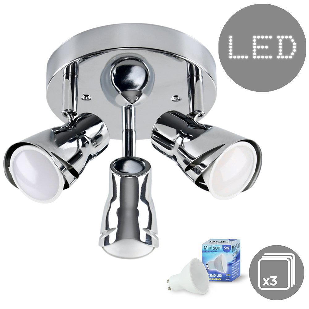 Contemporary Sleek Style Silver Chrome Adjustable 3 Way Round Plate Ceiling Spotlight - Complete with 5w LED GU10 Bulbs [6500K Cool White] MiniSun