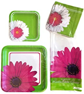 Amazon.com: Girl Birthday Party Supply Set Pink Daisy Paper Plate ...