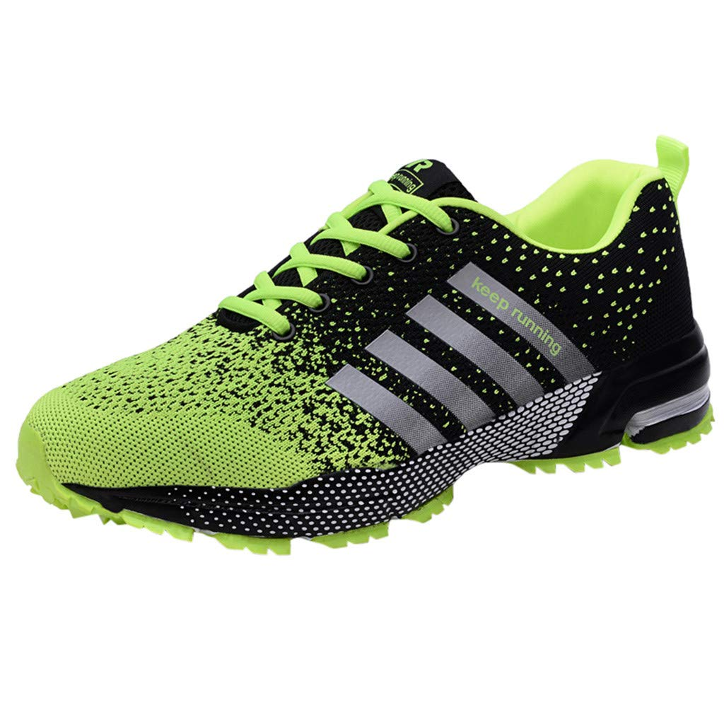Cealu Men's Large Size Running Sneakers Athletic Lightweight Breathable Sport Shoes Summer Non-Slip Lace-Up Walking Shoe Size 7-11.5 (Green, US:9)