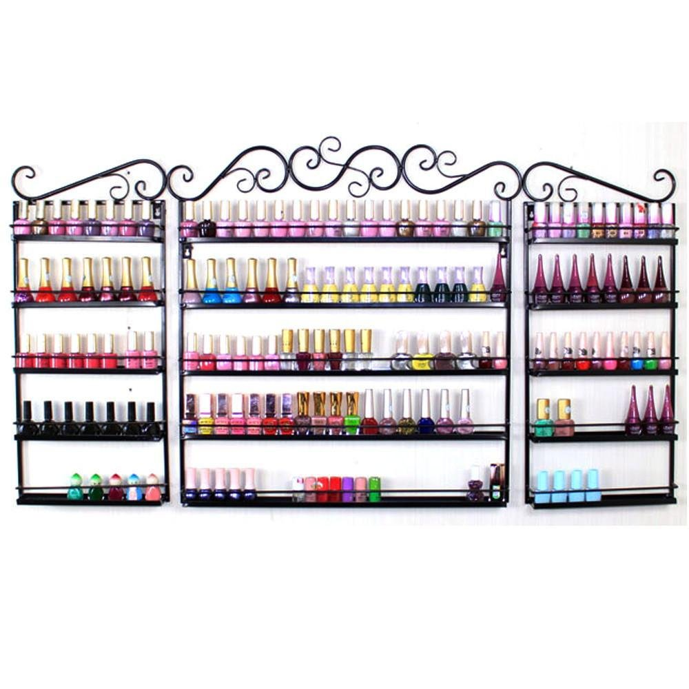 go2buy Metal Nail Polish Wall Rack 5 Tier Organizer Display Rack Black Holds Over 200 Bottles by go2buy