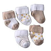 Evelin LEE Kids Unisex Baby Toddler Soft Socks 5 Pairs Crew Walkers Newborn Gift (0-4 months, Style 3-Khaki-5PCS)