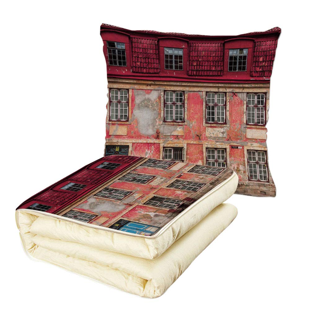 Quilt Dual-Use Pillow Urban Old Aged Building in Ancient City Tallinn Estonia Antique Structure Windows Decorative Multifunctional Air-Conditioning Quilt Ruby Pink Sky Blue