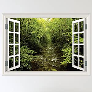 Amazing Full Colour Forest Woodland River Window Scene Wall Sticker Decal Wall Art  Mural (W70xH49cm) Part 15