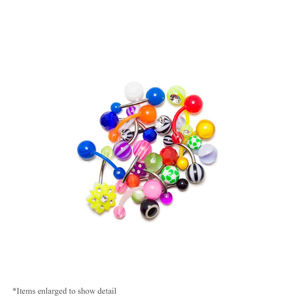 BodyJewelryOnline 20 Mixed Acrylic Belly Navel Rings - Cute and Playful Designs - 316L Surgical Steel and Bioflex Shafts