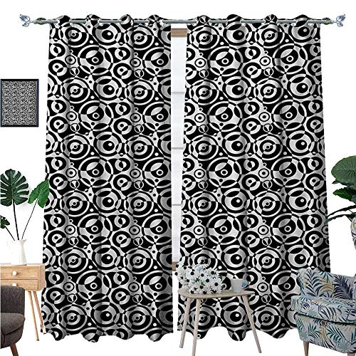 Black and White Window Curtain Fabric Circular Pattern Monochrome Dots with Bullseye Design Abstract Modern Art Drapes for Living Room W72 x L108 Black White (Light Plum Bullseye)