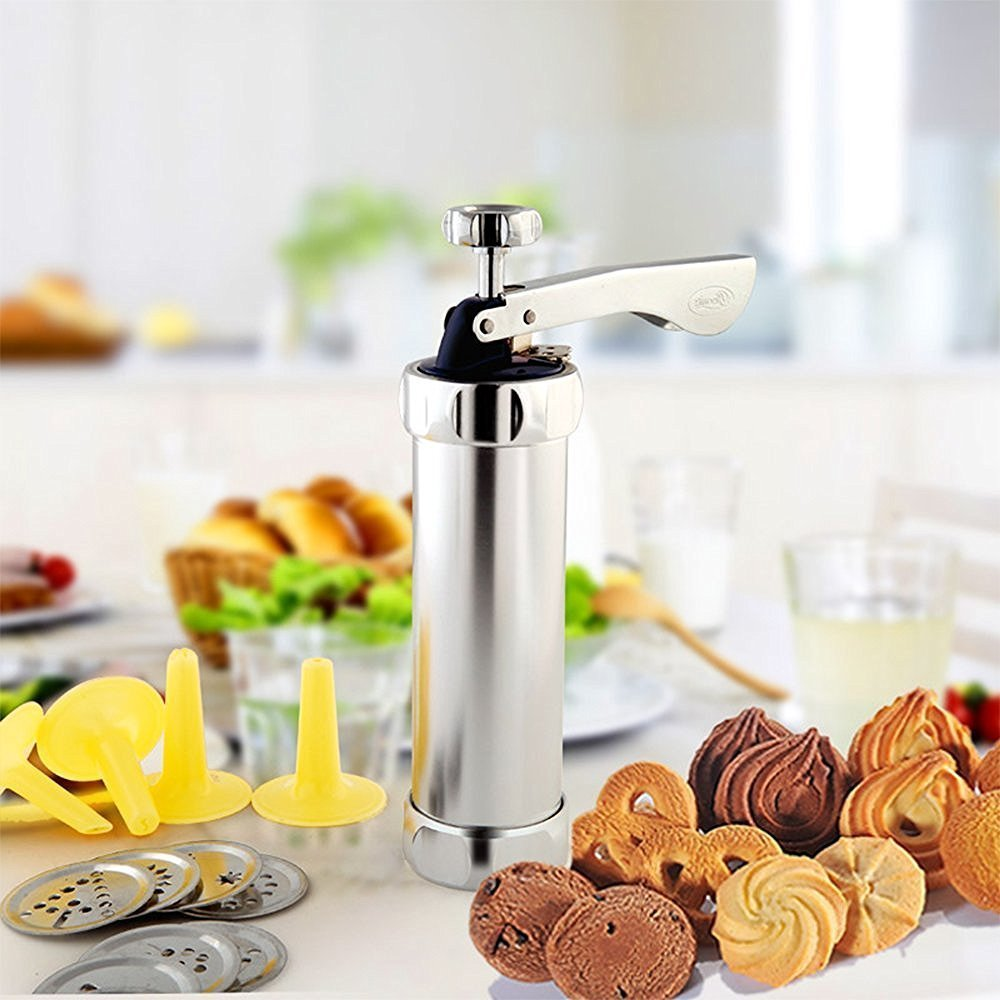 HUAFA 20 Discs & 4 Nozzles Silicone Cookie Press Pump Machine Biscuit and Icing Press Set Aluminum by HUAFA (Image #8)