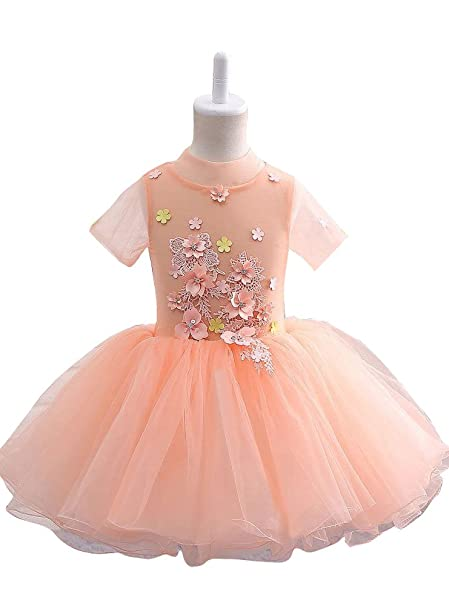 4a1b1dbd992 Amazon.com  LZDresses Girls s Short Orange O Neck Tulle Short Sleeves  Petals Evening Flower Girl Dresses with Flowers and Beads  Clothing