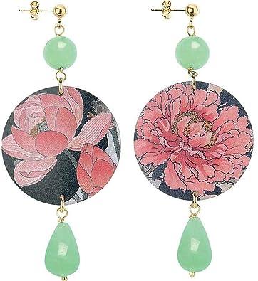 Lebole Gioielli Orecchini Collezione The Circle , Fiore Verde Giada