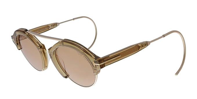 1d9cedb8127 Tom Ford FT0631 45E Farrah-02 Light Brown Gold Round Sunglasses for Mens