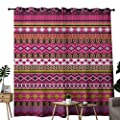 NUOMANAN Kitchen Curtains Pink,Traditional African Motifs and Borders Ethnic Tribal Accents Vintage Native Folk Art, Multicolor,Rod Pocket Drapes Thermal Insulated Panels Home décor