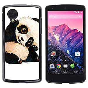 rígido protector delgado Shell Prima Delgada Casa Carcasa Funda Case Bandera Cover Armor para LG Google Nexus 5 D820 D821 /Panda Bear Kids Children'S/ STRONG