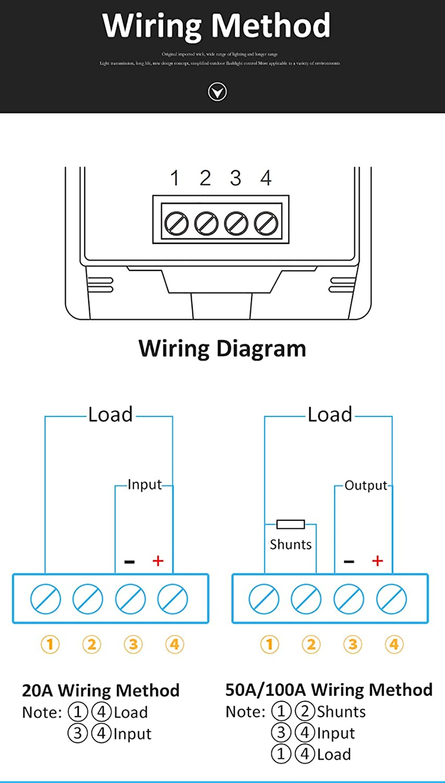 KKmoon PC05-50A LCD DC 8-100V Tester Misuratore di Energia Corrente 50A 4 IN1 Voltmetro Digitale Amperometro