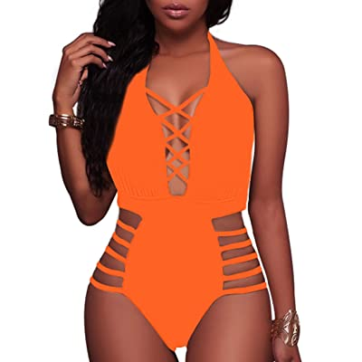 Pink Wind Women's Sexy One Piece Swimsuits V Neck Hihg Cut Monokini Bathing Suits at Women's Clothing store