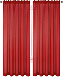amazon com editex set of 2 84 long red sheer voile curtains rh amazon com