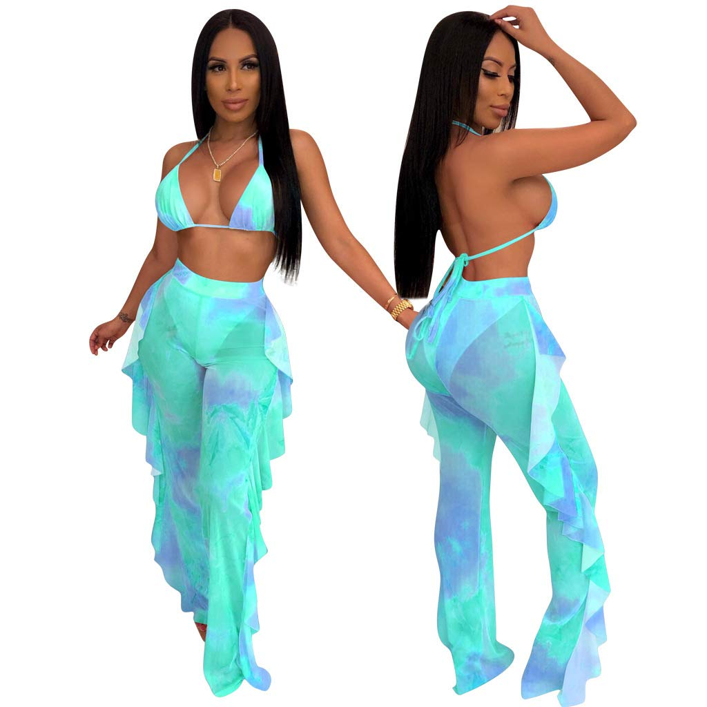 ECHOINE Women's Sexy Beach Swimsuit Mesh Cover Up See Through Two Piece Outfits Clubwear with Briefs Green