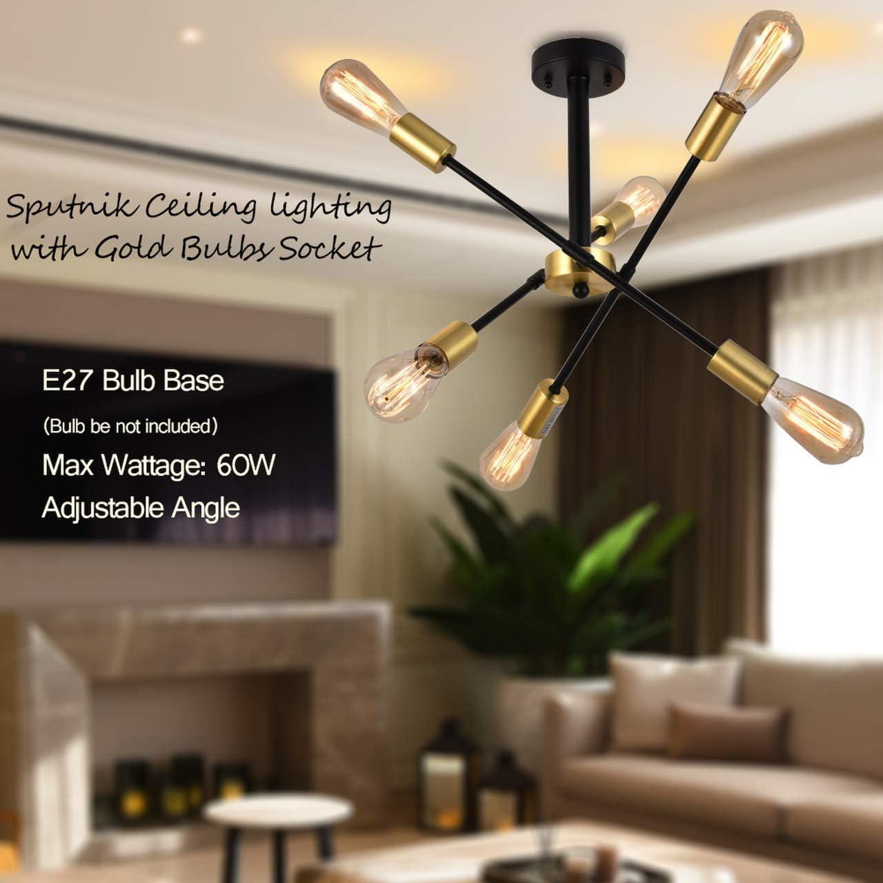 SEVETILKA Modern Black Large Sputnik Lighting 3 Adjustable Arm Metal Chandelier E27 Semi-Flush Hanging Pendant Ceiling Light with Golden Socket for Living Room Bedroom