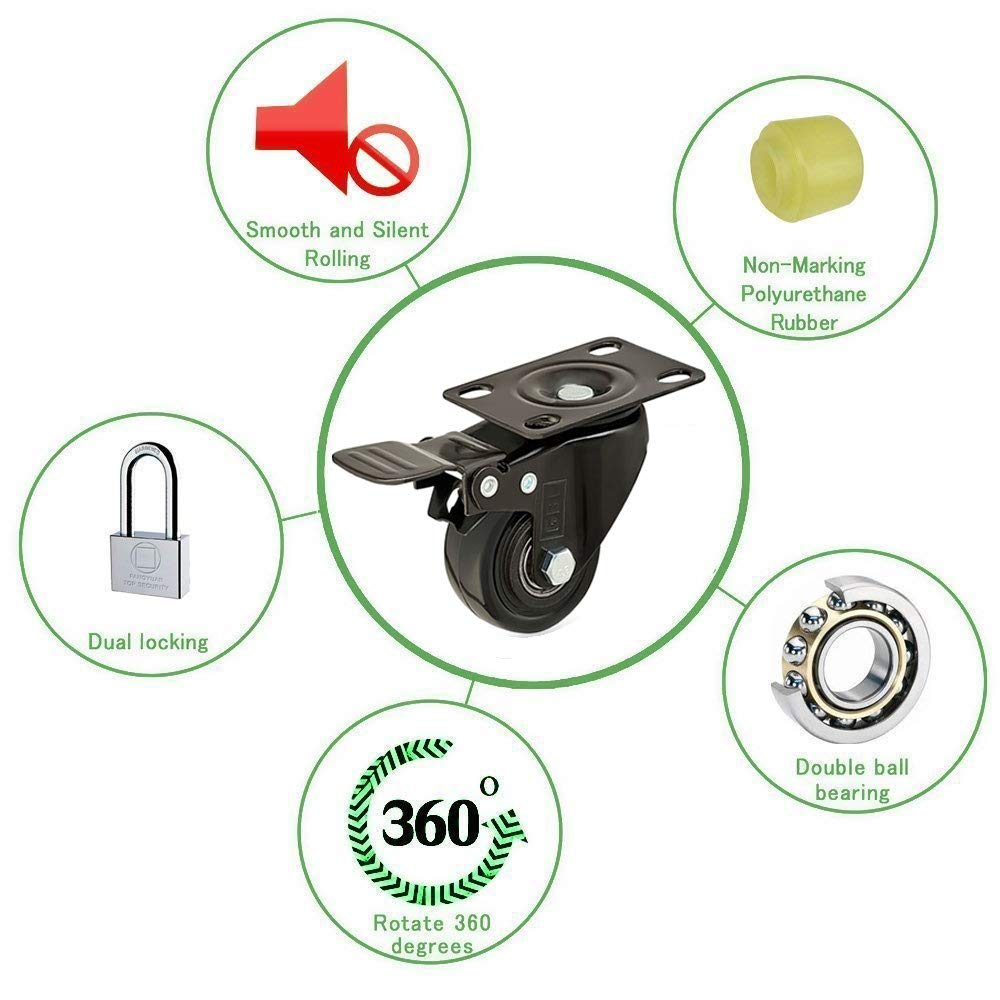 GBL/® 4 Castor Wheels 50mm 200KG Heavy Duty Castors Swivel Wheel Rubber Casters for Furniture Table Trolley
