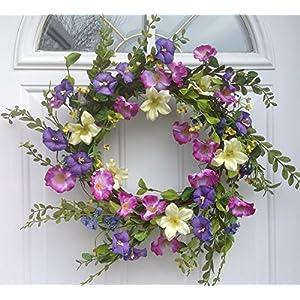 Cool Summer Morning Silk Floral Wreath Front Door Indoor Seasonal Decor Spring Summer Fall Valentines Day Easter 20 Inch Diameter 88