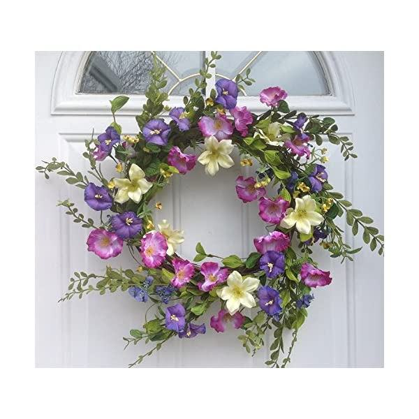 Cool Summer Morning Silk Floral Wreath Front Door Indoor Seasonal Decor Spring Summer Fall Valentines Day Easter 20 Inch Diameter