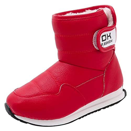 UK Kids Winter Warm Fur Lined Shoes Boys Girls Ankle Boots Comfor Outdoor Shoes