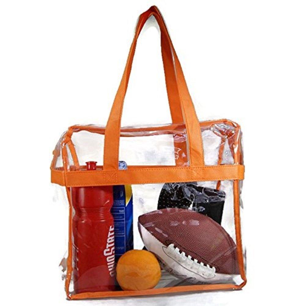 EliteBags Deluxe Clear Tote Bag w/Zipper, NFL Stadium Approved Security Bag, 12x12x6, Clear Vinyl, Shoulder Straps, Heavy Duty (Orange)