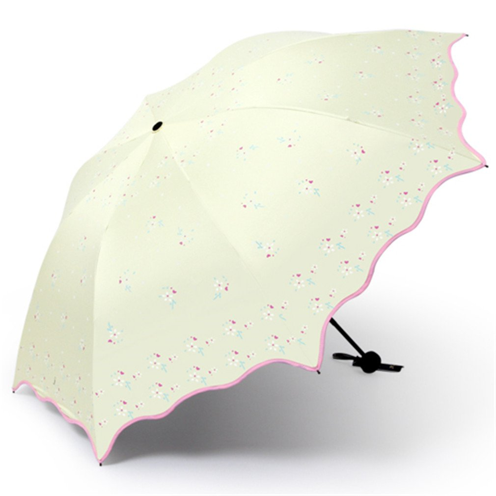Guoke The Black Plastic Super Sunscreen Uv Protection Umbrellas With A Fine Of Two Umbrella Folded, Torn - Flowers - Yellow