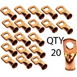 Voodoo 1/0 AWG Gauge 3/8'' Copper Crimp Ring Terminal Lug Qty 20 Pack