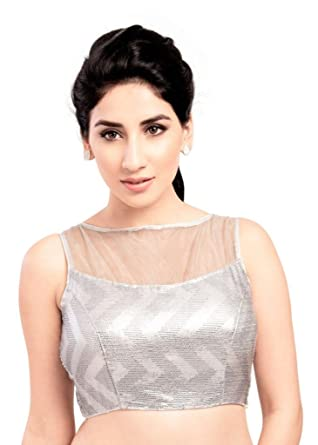 b6a46c8d12364f Amazon.com: Bollywood Blouses Women's Sheer Sparkling Designer Party Saree  Blouse Silver: Clothing