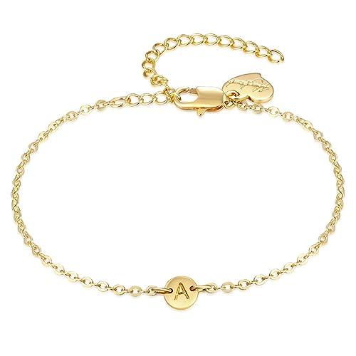 7e436715db13c LOYATA Women's Initial Charm Bracelet, 14K Gold Plated Small Round Engraved  Letters Disc Adjustable Bracelet for Girls