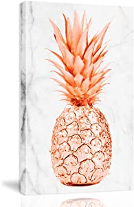 K-Road Pineapple Canvas Wall Art Framed Painting Modern Marble Texture Fruit Prints Bedroom Decor 10x16inch (DLS-RG)