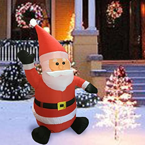 sunlit christmas inflatable 4 feet led lighted waving santa electric blow up yard party decoration - Amazon Outdoor Lighted Christmas Decorations