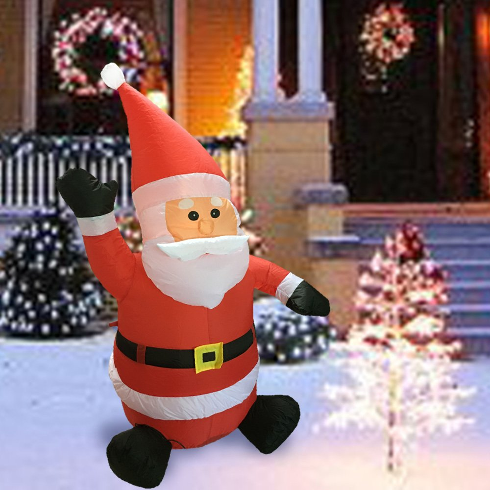 Sunlit Christmas Inflatable 4 feet LED Lighted Waving Santa Electric Blow-Up Yard Party Decoration for Xmas Airblown Inflatable Outdoor Christmas Decoration for Indoor and Outdoor