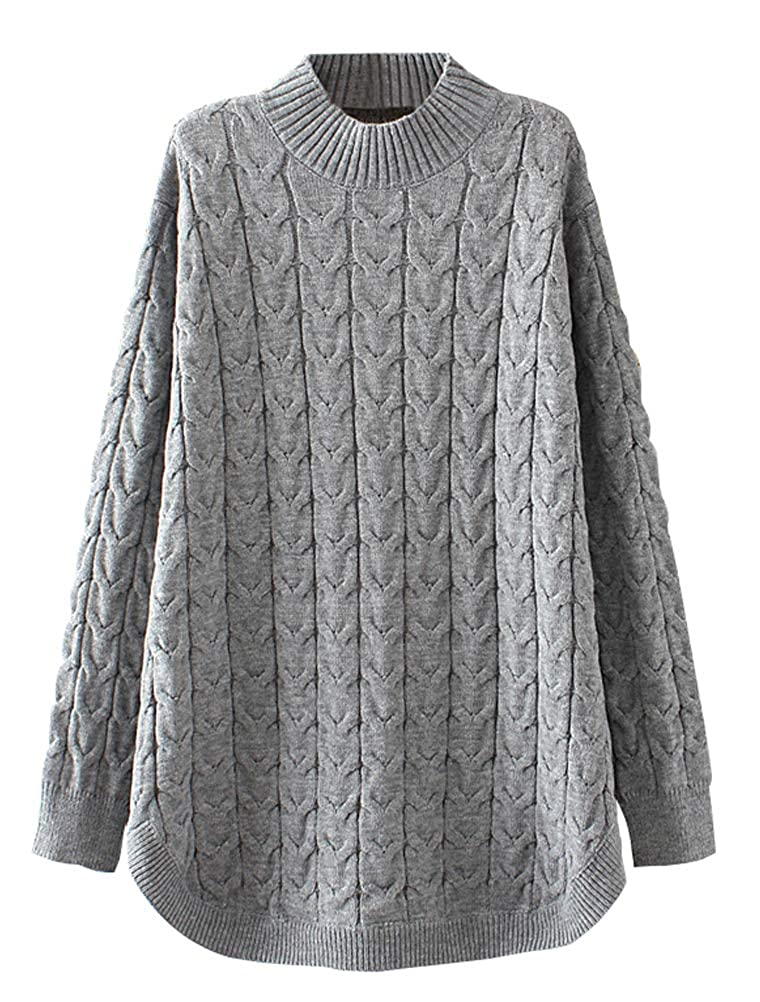 668eef43be11d Minibee Womens Long Sleeve Sweater Mock Turtleneck Pullover Tops Ribbed  Cable Knit Jumper ...