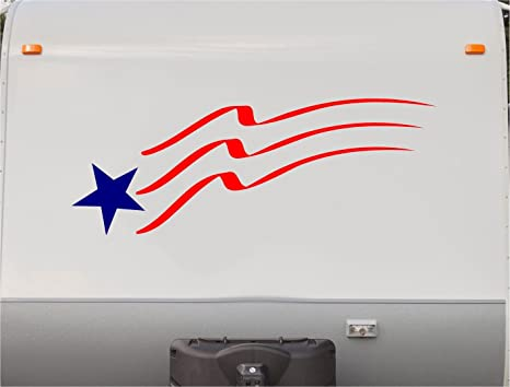 Usa flag stars and stripes motorhome stripe kit rv stickers trailer stickers camper