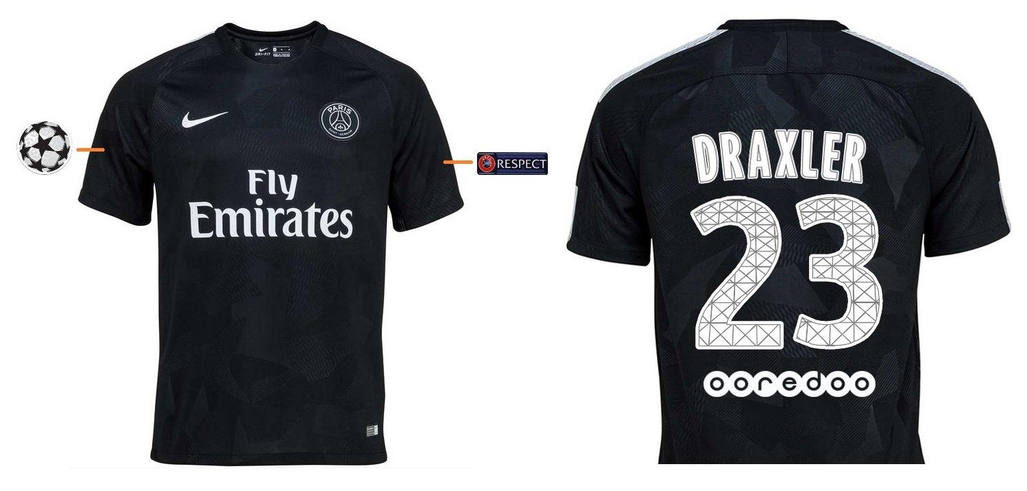 Trikot Kinder Paris Saint-Germain 2017-2018 Third UCL - Draxler 23