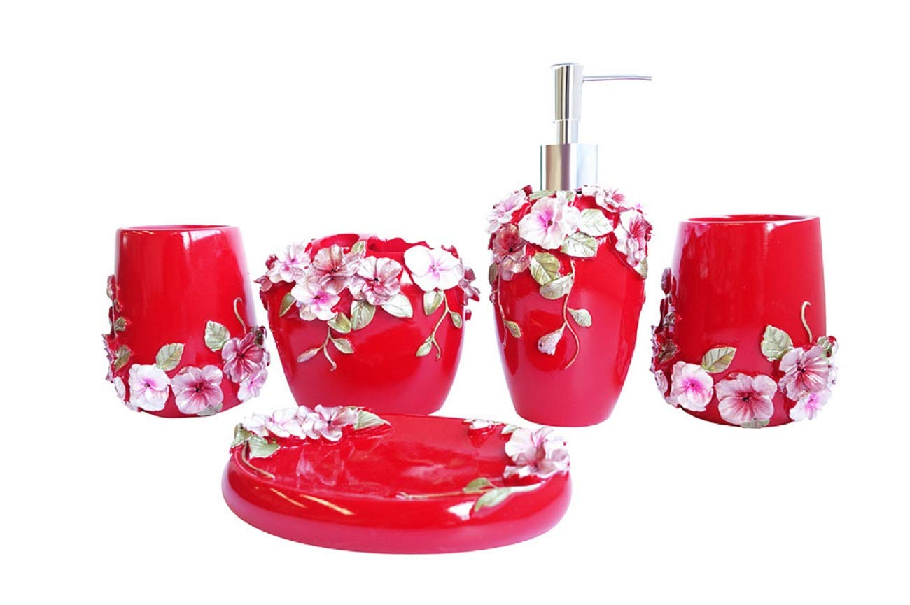 5pcs Bathroom Accessory Set Resin Soap Dish Dispenser Toothbrush Holder Red