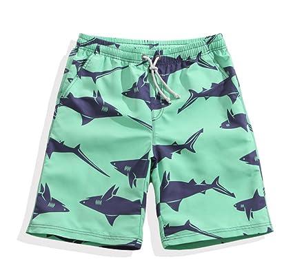 b38f991f355d2 Mens Shark Printing Loose Beach Shorts Quick Dry Swimming Trunks (S)