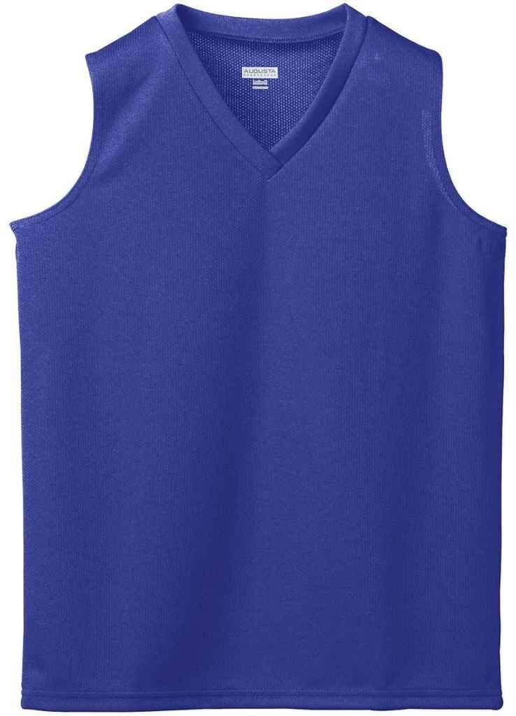 Augusta Sportswear Girl 's Wickingメッシュノースリーブジャージー B003WXS0SG Large|パープル パープル Large