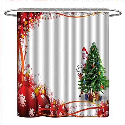 Jinguizi Santa Shower Curtains 3D Digital Printing Father Christmas And Reindeer Smiling Behind A Festive Pine
