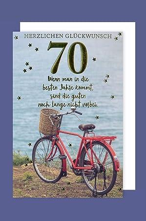 Geburtstag 70 Karte Grußkarte Gold Prägefolien Druck Fahrrad 16x11cm