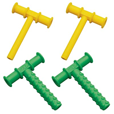 Chewy Tubes Teether, 4 Pack - Yellow/Green : Baby