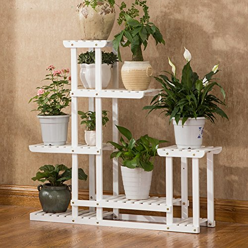 Multi-layer floor flower racks solid wood white flower framr creative bonsai frame-A by Flower racks