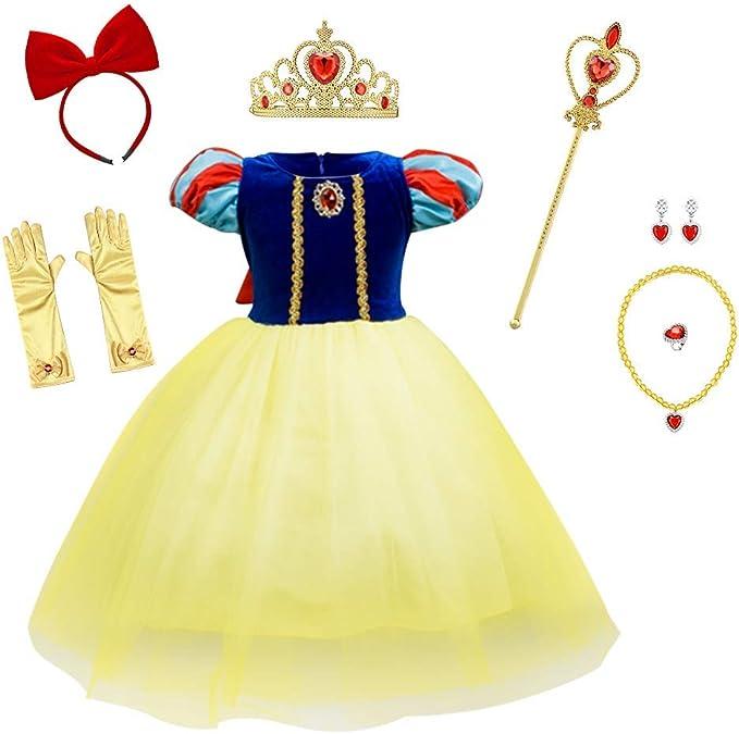 OBEEII Blancanieves Disfraz con Capa Snow White Carnaval Princesa ...