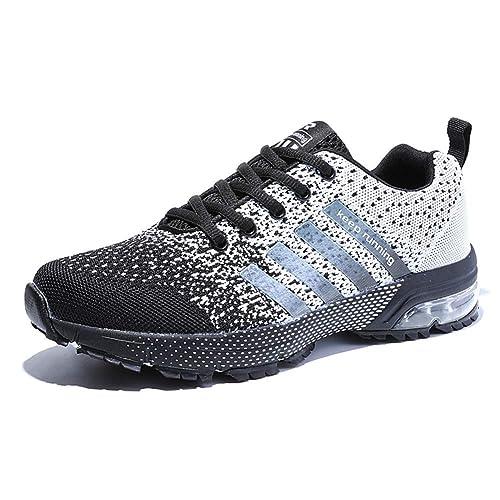 050f2f9b2f1c AZOOKEN Chaussures de Course Sport Basket Compétition Running Trail  Entraînement Multisports Homme Femme(8702Grey35)