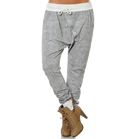 Pantalones Anchos Mujeres SUNNSEAN Pantalones de Moda Harem Color ...