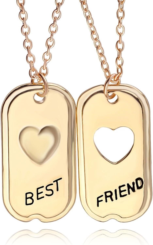 Daesar Collar Acero Inoxidable Mujer Collar Mujer Colgante Mujer Collar Grabado Best Friend Corazón Hueco Rectangular Collar Oro