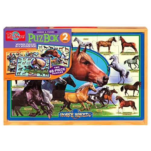 T.S. Shure Horse Breeds 2 Jumbo Puzzles in a Wooden Box
